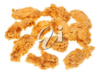 many crispy batter deep-fried chicken wings isolated on white background