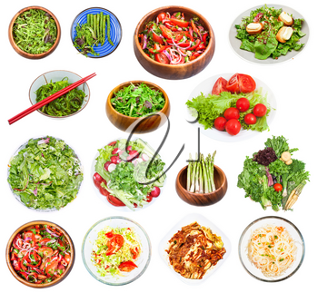 set of various vegetable salads isolated on white background