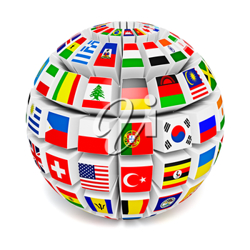 Royalty Free Clipart Image of a Sphere with Flags