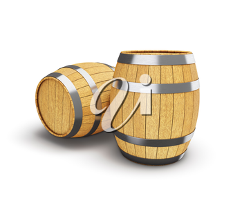 Wooden oak brandy wine beer barrels isolated on white background