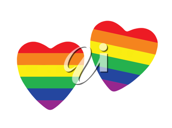 Two hearts made from gay pride flag isolated on white background.