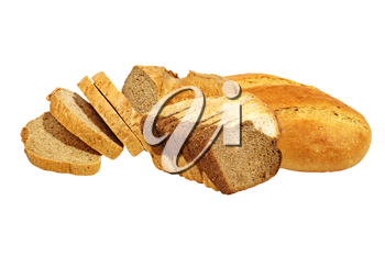 Different kinds of fresh bread isolated on white background.