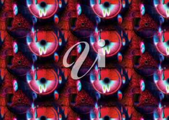 Red kaleidoscope spotted abstract background with eye pupil shapes.Digitally altered image.