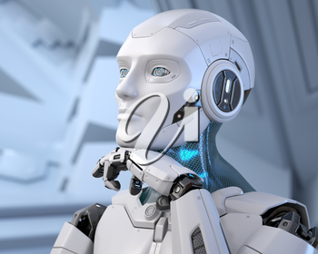 Robot dreaming about something. 3D illustration
