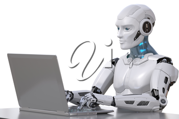 The robot works with a laptop. Clipping path included. 3D illustration