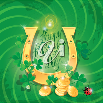 Holiday card with calligraphic words Happy St. Patrick`s Day. Shamrock, horseshoe, ladybug and golden coin on dark green background