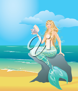 Illustration of a Beautiful mermaid girl with sea shell sitting on the stone