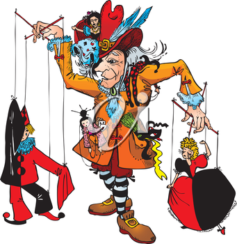Puppeteer and marionettes: Pierrot, Columbine, Harlequin, Gipsy, Japanese (Fairy tale illustration)