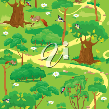 Seamless pattern - Green Forest Landscape with trees, flowers, birds and squirrels