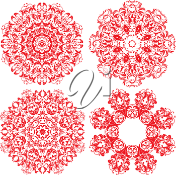Set of 4 one color round ornaments, Lace floral patterns