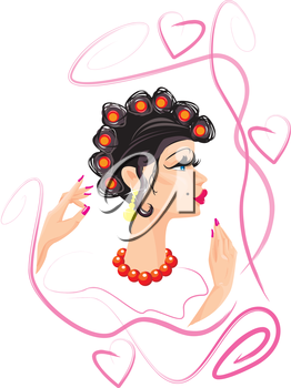 funny woman cartoon with hair rollers
