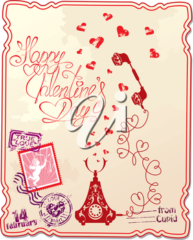 Holiday card with hand written text Happy Valentine`s Day with retro telephone, hearts and stamp in vintage style.