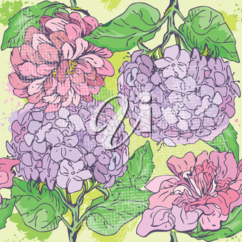 Floral Seamless Pattern with hand drawn flowers - gardenia and peony.