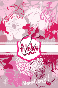 Vertical Card in grunge style with handwritten text ALOHA, VACATIONS, I LOVE TRAVEL, butterflies and frangipani, Plumeria flowers for travel and vacation design.