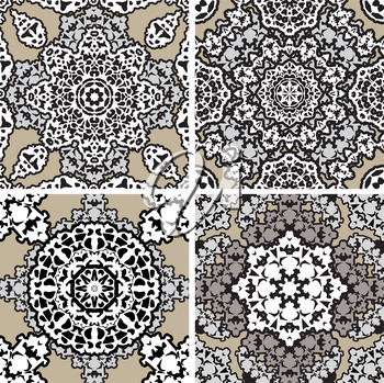 Set of squared backgrounds - ornamental seamless pattern. Design for bandanna, carpet, shawl, pillow or cushion