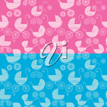 Set of seamless pattern with buggy on pink and blue background. Baby shower for girl and boy.