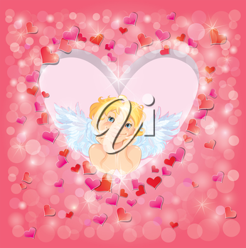 Cute angel in the heart shape frame edged of red paper hearts confetti and lights. Valentines Day card design.