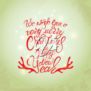 Merry Christmas and Happy New Year Card, calligraphy handwritten text for winter holidays design.