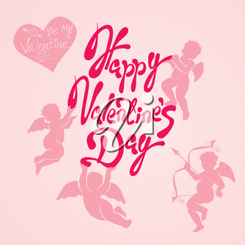 Holiday card with cute angels on pink background. Hand written calligraphy text Happy Valentines Day and Be my Valentine.
