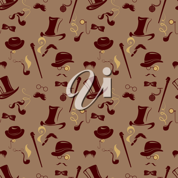 Seamless pattern in retro style. Men silhouettes smoking cigar and pipe, vintage background in brown colors.