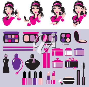 Cosmetics and makeup set. Elements for make up, lipstick, nail polish. Beauty products symbols. Fashion style. Girl portraits, isolated images.