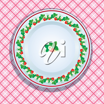 White plate decoration with strawberries, leaves and flowers on pink checkered background. Fruit frame.