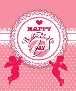 Holiday card with cute angels and round ornamental frame on pink background. Handwritten calligraphic text Happy Valentines Day.