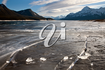 Abraham Lake Winter Ice formations bubbles design