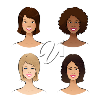 Human race women. Vector set.
