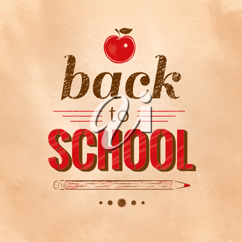 Back to School vintage typographical background. Vector EPS 10.