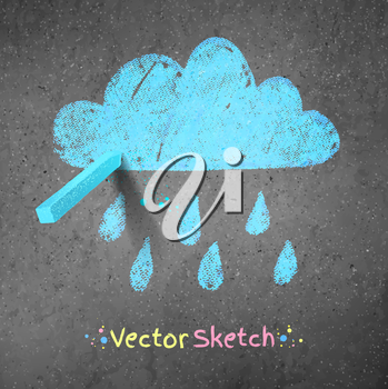 Rainy cloud drawn on asphalt background. Peace of blue chalk. Vector illustration.