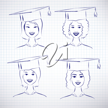 Female students wearing graduation hat. Vector hand drawn sketch on notebook background.