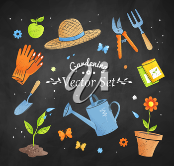Gardening vector set on black chalkboard background.