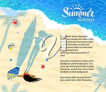 Top view design template with surfer girl standing near coastline with long shadow of palm trees and beach ball.