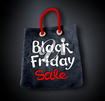 Vector illustration with Black Friday lettering and hand made plasticine shopping bag banner on black background.