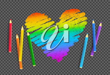 Vector sketch of rainbow colored heart with color pencils on transparency background.