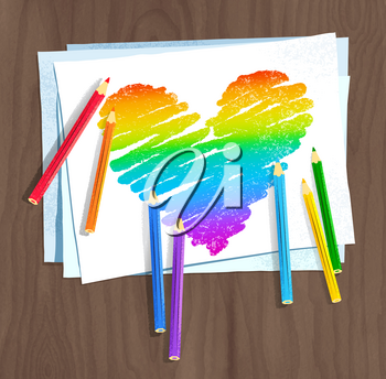 Vector sketch of rainbow colored heart with color pencils and paper  on wooden background.