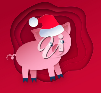 Vector cut paper art style illustration of New Year Pig on red colored layered shapes banner background.