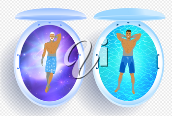 Top view vector collection of illustrations of men and floating tank with blue water and cosmos.