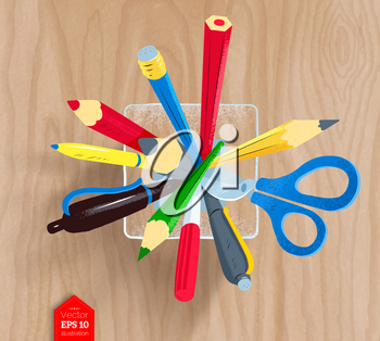 Top view vector illustration of pencils, pens and scissors in holder on wooden desk background.