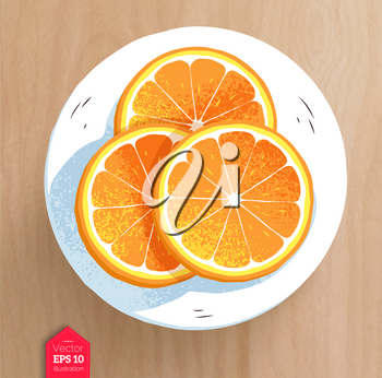 Top view vector illustration of slices of orange with realistic shadow on wooden table background.