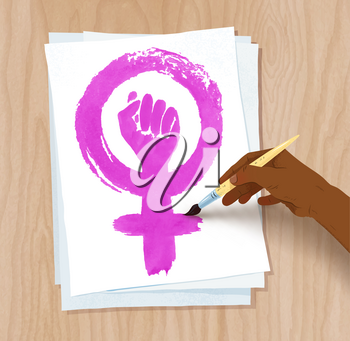 Vector illustration of african american female hand drawing Feminism protest symbol with brush on paper on light wooden desk background.