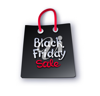 Vector  paper cut art style illustration of Black Friday sale shopping bag with shadow isolated on white background.