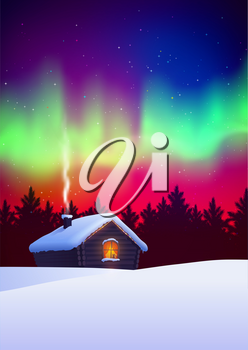 Vector illustration of winter night landscape with house and aurora borealis skies.