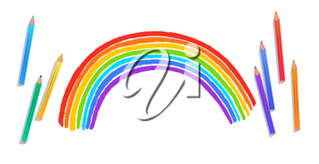 Top view vector illustration of child drawing of rainbow arc isolated on white background with pencils.