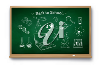 Vector chalk drawn illustration set of science symbol objects on green chalkboard with shadow isolated on white background.