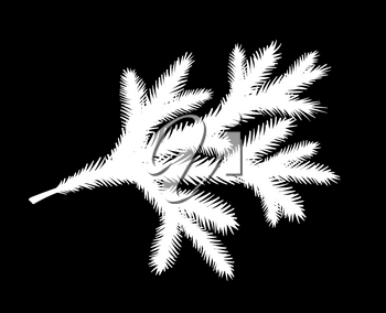 Vector illustration of white fir tree brunch silhouette isolated on black background.