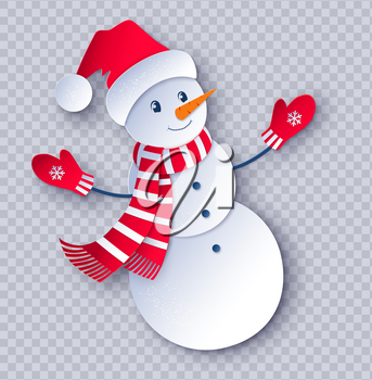 Vector cut paper art style illustration of cute Snowman character wearing santa hat transparency background.