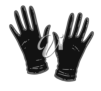 Vector illustration of rubber gloves isolated on white background.