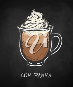 Con panna coffee cup isolated on black chalkboard background. Vector chalk drawn sideview grunge illustration.